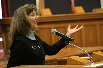 Rep. Millie Hamner discusses issues of standardized testing in Colorado. Photo by Kaylee Eastridge