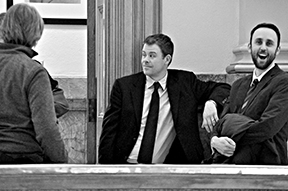 Advisers Mark Newton, Adam Dawkins and Ben Reed catch up outside the Old Supreme Court Chambers before the press conferences began. Photo by Sabrina Pacha