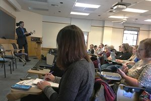 Damaso Reyes leads the Feb. 2 Teaching Media Literacy workshop, which brought 60 educators and journalists to the CU Boulder campus.