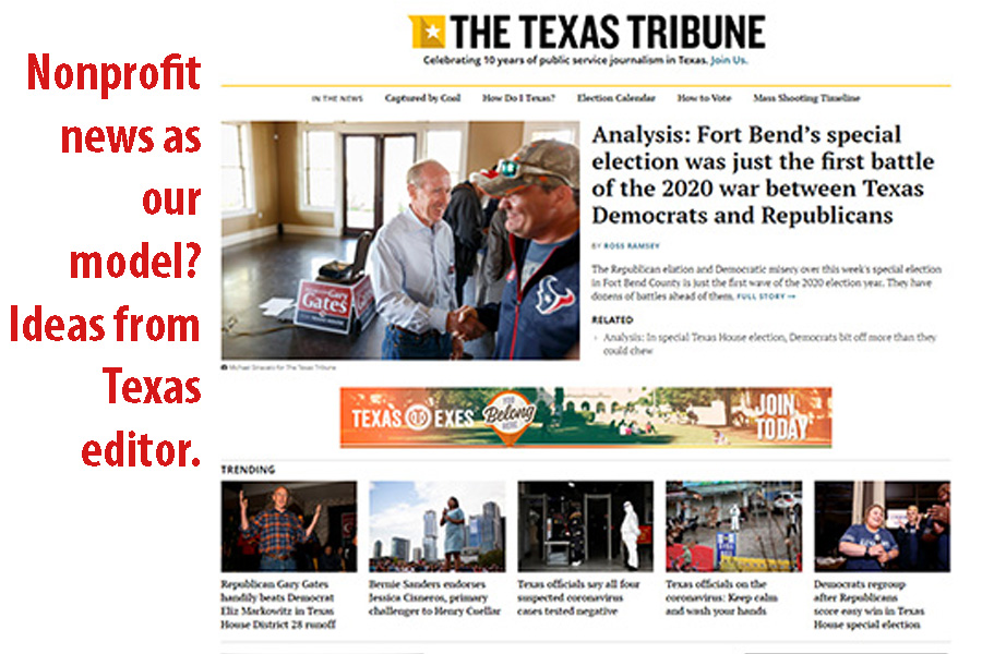 Texas professional nonprofit site offers useful model for student media